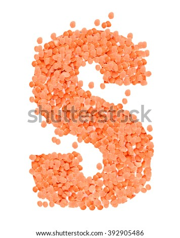 S, alphabet, Letter from dry lentils on white