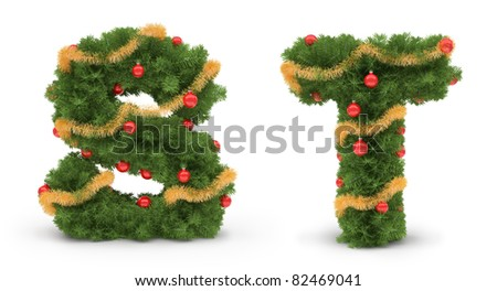 S and T letters - Christmas tree collection - stock photo