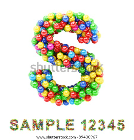 S: Colorful letters and numbers on white background. - stock photo