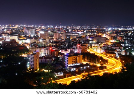 s curve freeway road in Pattaya, famous place in thailand - stock photo