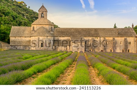 S�©nanque Abbey is a Cistercian abbey near the village of Gordes in the d�©partement of the Vaucluse in Provence, France - stock photo
