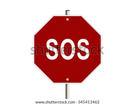 S.o.s. Road sign on the white background. Raster illustration.