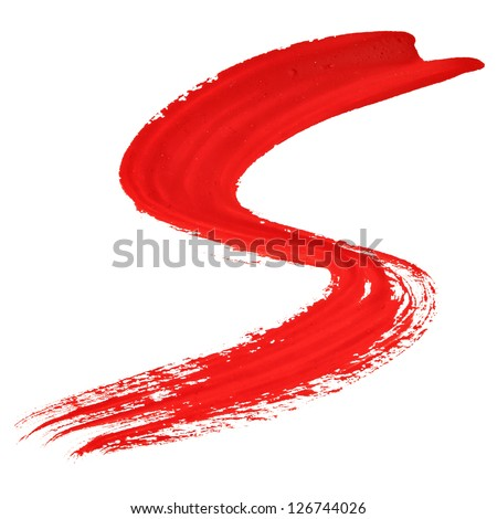 S - Red handwritten letters over white background - stock photo