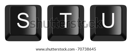 S, T, U black computer keys alphabet isolated on white