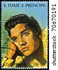 S.TOME E PRINCIPE - CIRCA 2005: stamp printed in S.Tome E Principe showing Elvis Presley - rock and roll singer, circa 2005. 9 stamps series - stock photo
