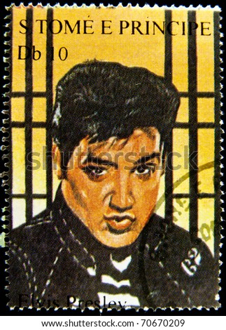 S.TOME E PRINCIPE - CIRCA 2005: stamp printed in S.Tome E Principe showing Elvis Presley - rock and roll singer, circa 2005. 9 stamps series - stock photo