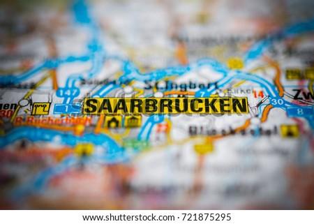 Saarbrucken On Map Stock Photo 721875295 Shutterstock