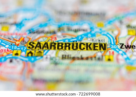 Saarbrucken On Map Stock Photo Royalty Free 722699008 Shutterstock