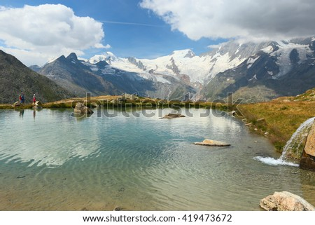 Saas Grund, view of the lake from the Kreuzboden, Switzerland