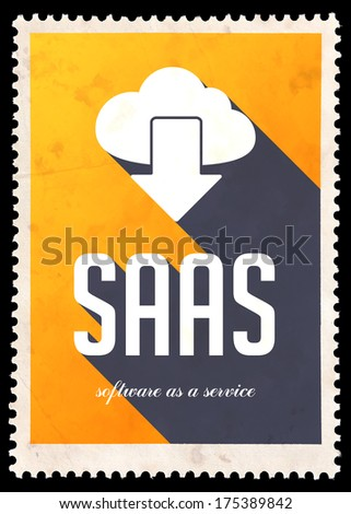 SAAS - Software as a Service - on yellow background. Vintage Concept in Flat Design with Long Shadows. - stock photo