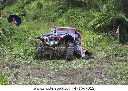 SABAH, MALAYSIA - 16 August 2016 : four wheel drive car be in action  off road challenge in Borneo Safari 2015.