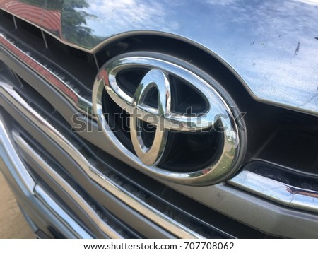 SABAH, MALAYSIA -AUGUST 2017. Toyota logo and grill