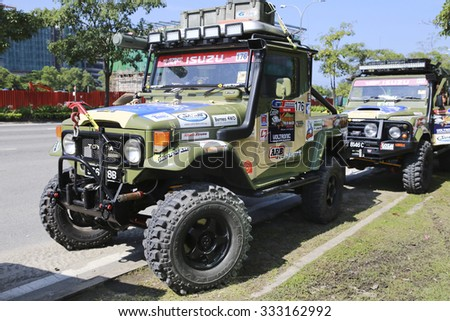 SABAH, MALAYSIA - 24 OCTOBER 2015 : Land Rover four wheel drive car on auto show at Festival Borneo Safari 2015. The event held annually to attract youngsters with outdoor activity.