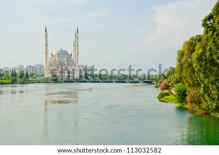 Sabanci Merkez Camii (mosque) in Adana, Turkey - stock photo