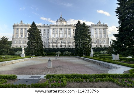 Sabatini Gardens, beside the north fa�§ade of the Royal Palace (in the background) of Madrid, Spain.