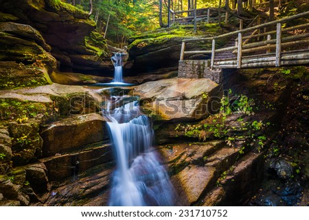 Sabbaday Falls, along the Kancamagus Highway in White Mountain National Forest, New Hampshire. - stock photo