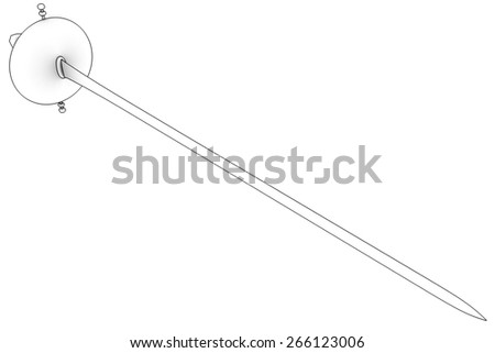 saber. Isolated on White Background. 3d - stock photo