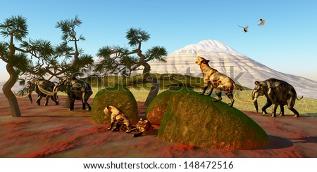 Saber Toothed Cat Family - A family of Saber Toothed Tigers watch as a herd of Woolly Mammoths pass by their den. - stock photo