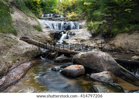 Sable Falls is part of Pictured Rocks National Lakeshore in the upper peninsula of Michigan. Grand Marais, Michigan. - stock photo
