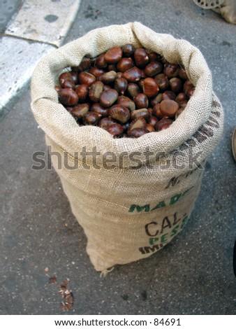 sac full of chestnut  - stock photo