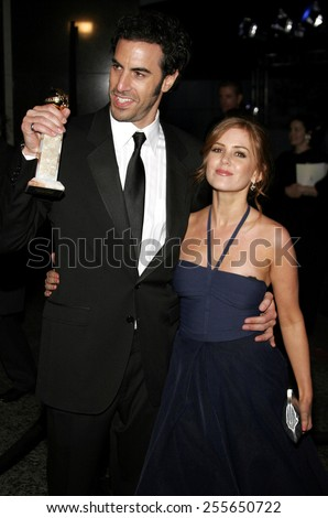 Sacha Baron Cohen and Isla Fisher attend the 2007 Paramount Pictures Golden Globe Award After-Party held at the Beverly Hilton Hotel in Beverly Hills, California, on January 15, 2007.  - stock photo