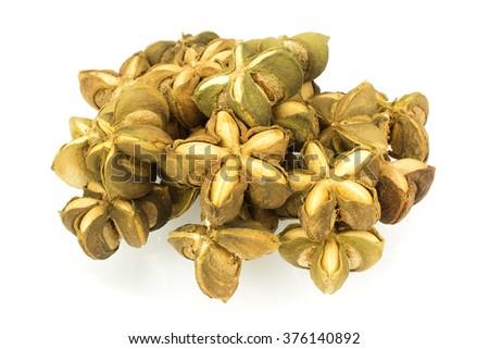 sacha inchi peanut seed on white background - stock photo