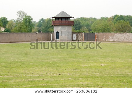 SACHSENHAUSEN-ORANIENBURG GERMANY MAY 24: Mirador of Nazi concentration camp used primarily for political prisoners from 1936 to end of the Third Reich on may 24 2010 in Sachsenhausen Germany.