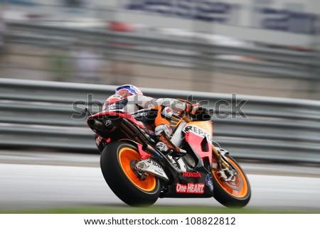 SACHSENRING - GERMANY, JULY 6: Australian Honda rider Casey Stoner during practice at 2012 Eni Moto GP of Germany on Sachsenring circuit on July 6, 2012 - stock photo