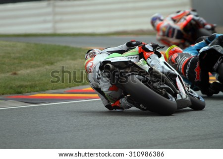 SACHSENRING - GERMANY, JULY 10: Colombian Ducati rider Yonny Hernandez at 2015 GoPro MotoGP of Germany at Sachsenring circuit on July 10, 2015