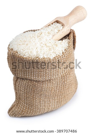 Sack filled with white long rice and wooden scoop isolated on white background