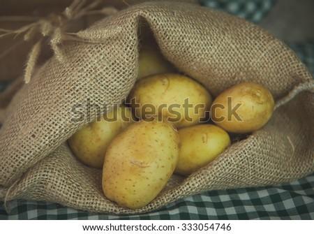 Sack fresh organic potatoes - stock photo