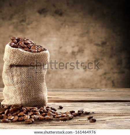 sack of coffee and empty space  - stock photo