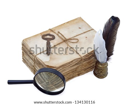 Sack of old letters with key, quills and magnifier isolated - stock photo