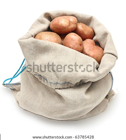 Sack of potatoes raw vegetables isolated on white background. - stock photo