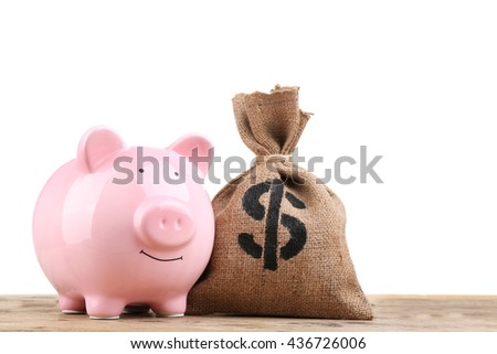 Sack with money and pig moneybox on white background - stock photo