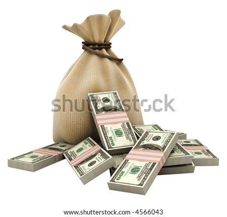 sack with money dollars currency isolated with clipping path included