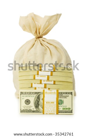 Sacks of money isolated on the white - stock photo