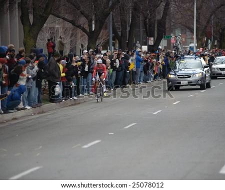 SACRAMENTO, CA - February 14, 2009: Fabian Cancellarra racing in the 2009 AMGEN tour in Sacramento, California - stock photo