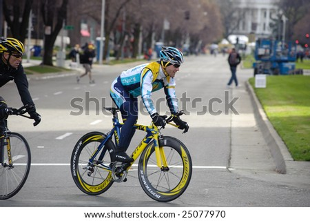 SACRAMENTO, CA - February 14, 2009: Lance Armstrong and Levi Leipheimer preparing for AMGEN Tour - stock photo