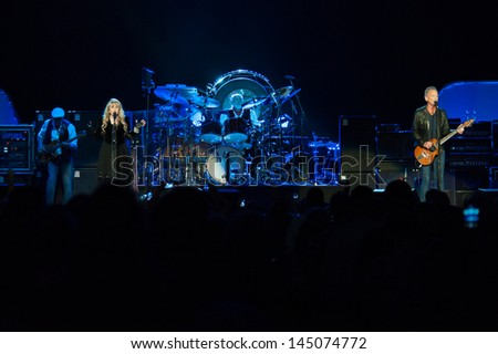 SACRAMENTO, CA - JULY 6: Fleetwood Mac performs in support of the bands' Extended Play release at Sleep Train Arena on July 6, 2013 in Sacramento, California. - stock photo