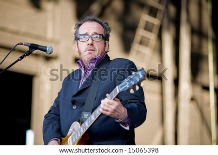 Sacramento, CA - July 17,2008: Singer Elvis Costello performs onstage at the Sleep Train Amphitheater in Marysville, CA with his band the Imposters
