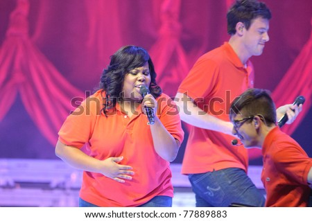 SACRAMENTO, CA - MAY 23: Amber Riley and Cast members perform at the Glee Live! In Concert! tour at the Power Balance Pavilion on May 23, 2011 in  Sacramento, California. - stock photo