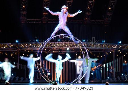 Sacramento, CA - MAY 11: Artists perform at Cirque du Soleil's show 'Quidam' on May 11, 2011 in Sacramento California - stock photo