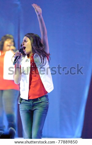 SACRAMENTO, CA - MAY 23: Lea Michele perform at the Glee Live! In Concert! tour at the Power Balance Pavilion on May 23, 2011 in  Sacramento, California. - stock photo