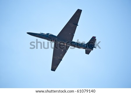 SACRAMENTO, CA - SEPT 11: Lockheed Martin U-2 Dragon Lady military surveillance aircraft flies at California Capital Airshow, September 11, 2010, Mather Airport, Sacramento, CA - stock photo