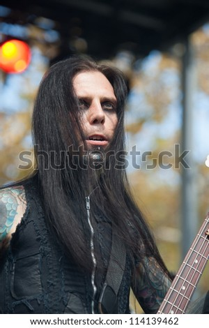 SACRAMENTO, CA - SEPTEMBER 23:  Alessandro Paveri  of Gemini Syndrome performs in  Aftershock music festival featuring Bush, Deftones, at Discovery Park in  Sacramento, CA on September 23, 2012 - stock photo