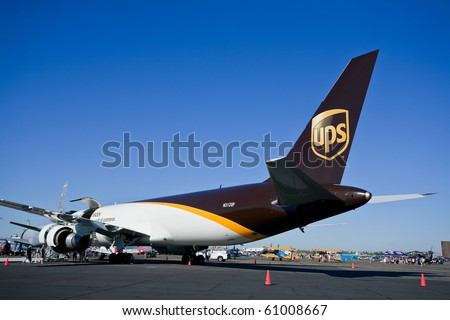 SACRAMENTO, CA - SEPTEMBER 11: Boeing 767-34AF UPS on display at California Capital Airshow, September 11, 2010, Mather Airport, Sacramento, CA - stock photo