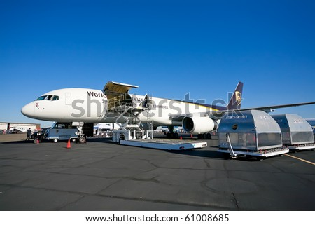 SACRAMENTO, CA - SEPTEMBER 11: Boeing 757-24APF UPS on display at California Capital Airshow, September 11, 2010, Mather Airport, Sacramento, CA - stock photo
