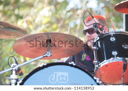 SACRAMENTO, CA - SEPTEMBER 23: Oleander performs at the Aftershock music festival featuring Bush, Deftones, STP, and more at Discovery Park in  Sacramento, CA on September 23, 2012 - stock photo