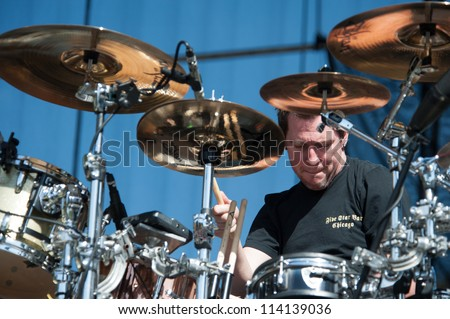 SACRAMENTO, CA - SEPTEMBER 23: Sam Loeffler of Chevelle performs at Aftershock music festival featuring Bush, Deftones, STP, and more at Discovery Park in  Sacramento, CA on September 23, 2012 - stock photo